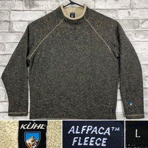 KUHL Alfpaca Fleece Mens Large Pullover Gray Brown Knit Sweater w Sherpa Collar